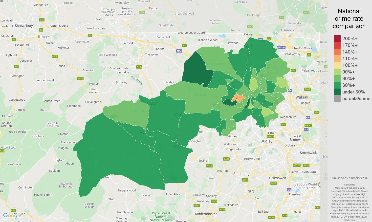 Wolverhampton antisocial behaviour crime rate comparison map