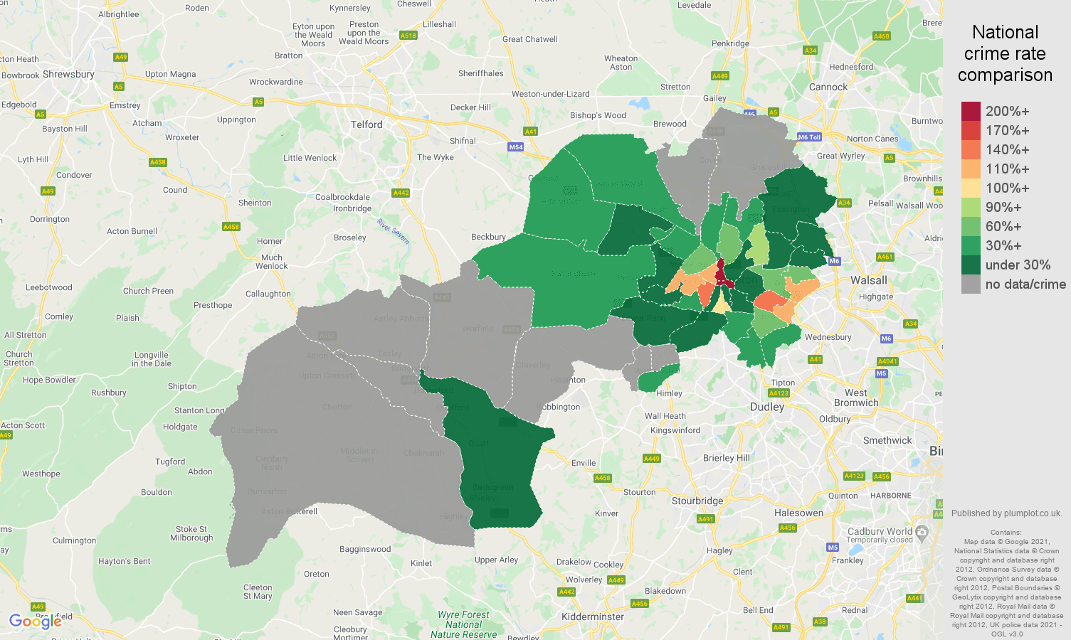 Wolverhampton bicycle theft crime rate comparison map
