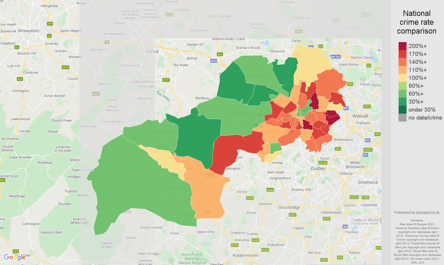Wolverhampton burglary crime rate comparison map