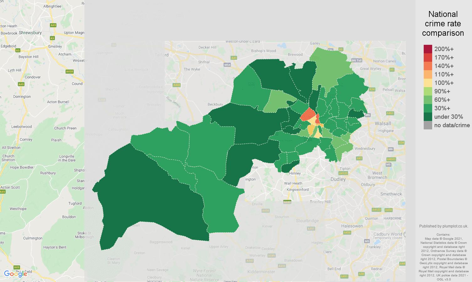 Wolverhampton drugs crime rate comparison map