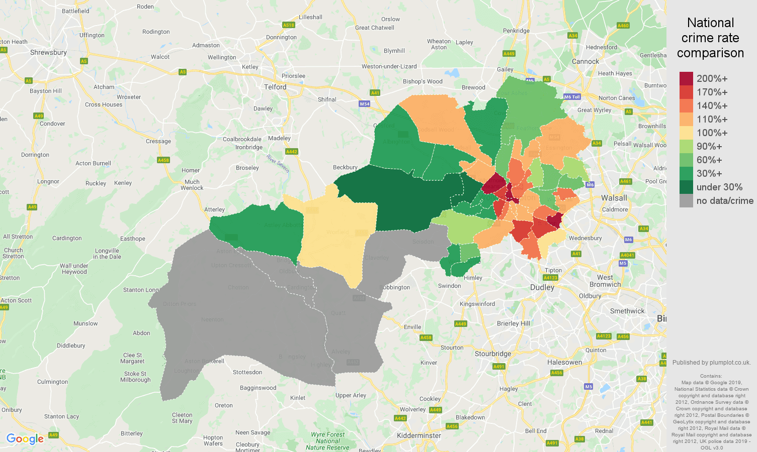 Wolverhampton possession of weapons crime rate comparison map