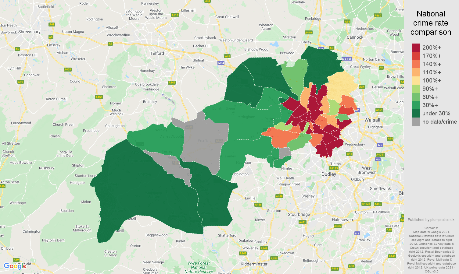 Wolverhampton robbery crime rate comparison map