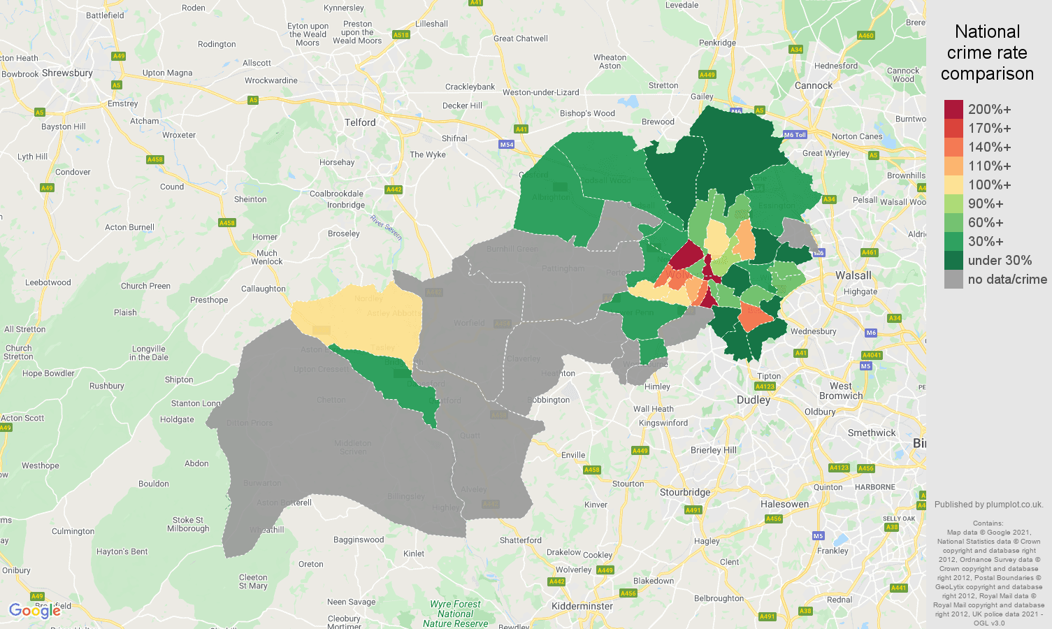 Wolverhampton theft from the person crime rate comparison map