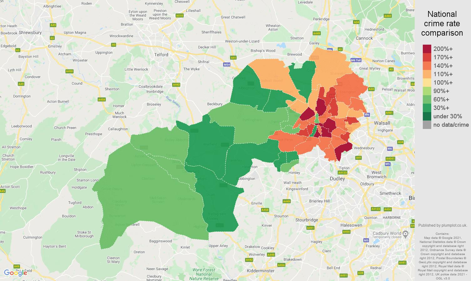 Wolverhampton violent crime rate comparison map