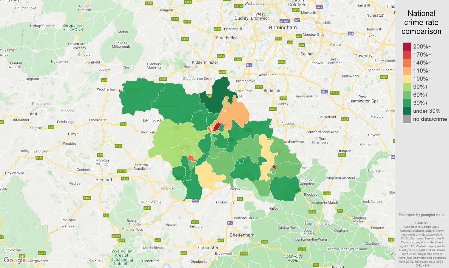 Worcester criminal damage and arson crime rate comparison map