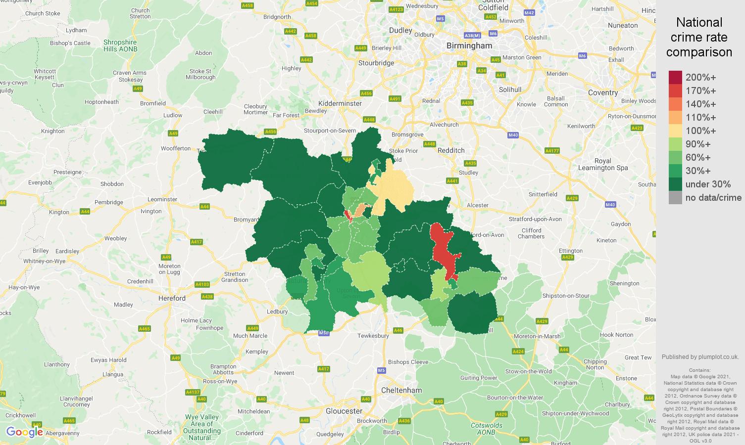 Worcester drugs crime rate comparison map