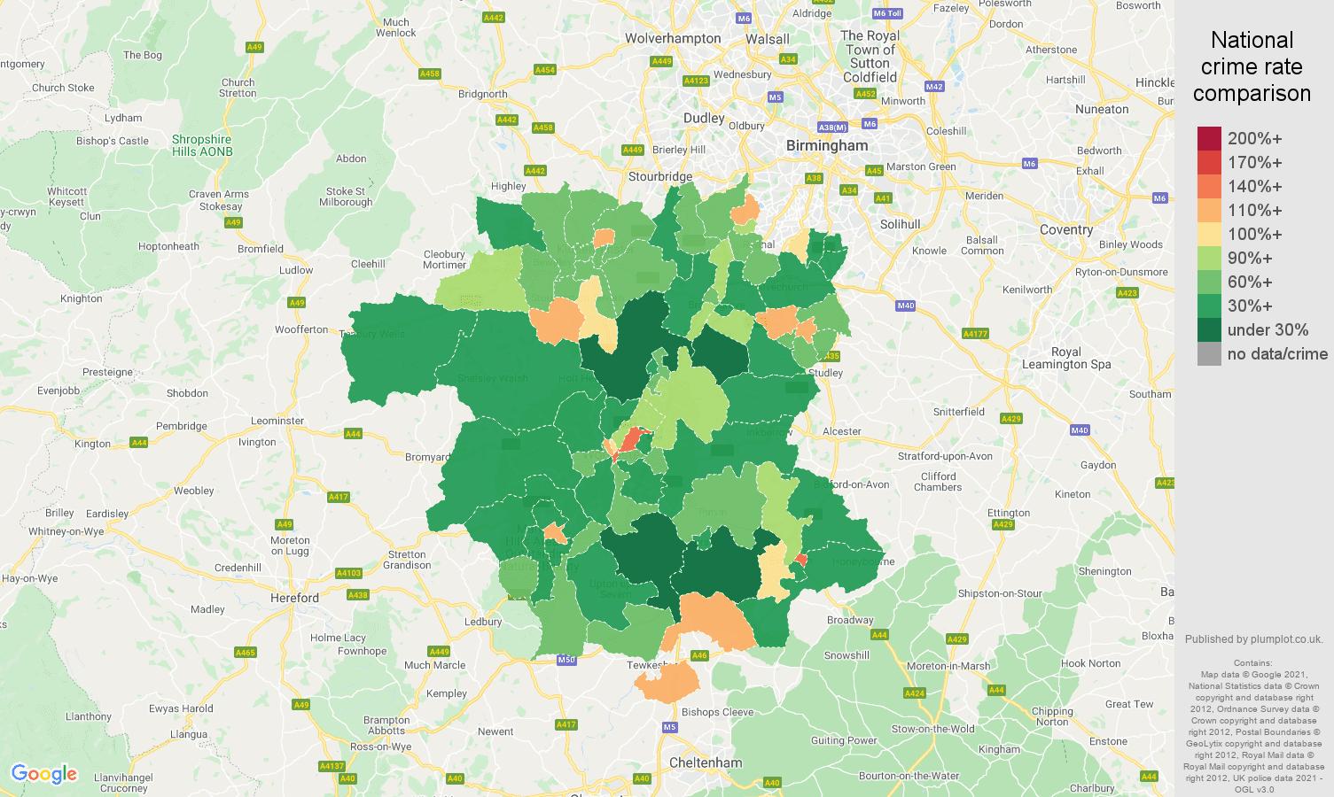 Worcestershire antisocial behaviour crime rate comparison map