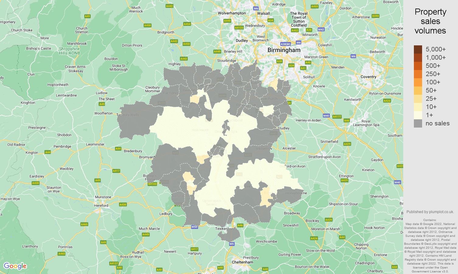 Worcestershire map of sales of new properties