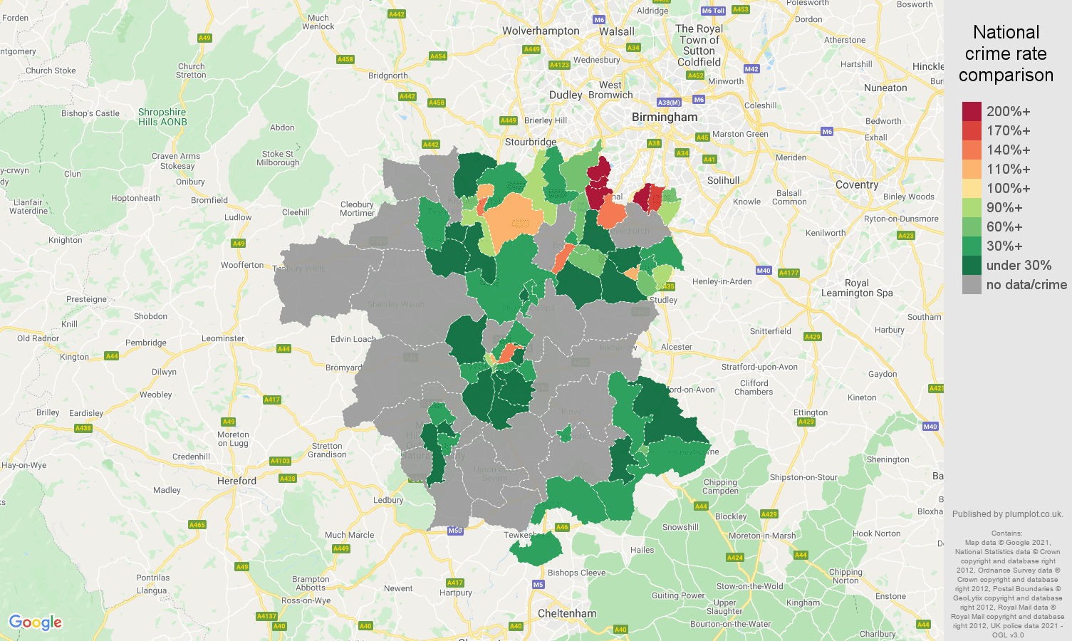 Worcestershire robbery crime rate comparison map