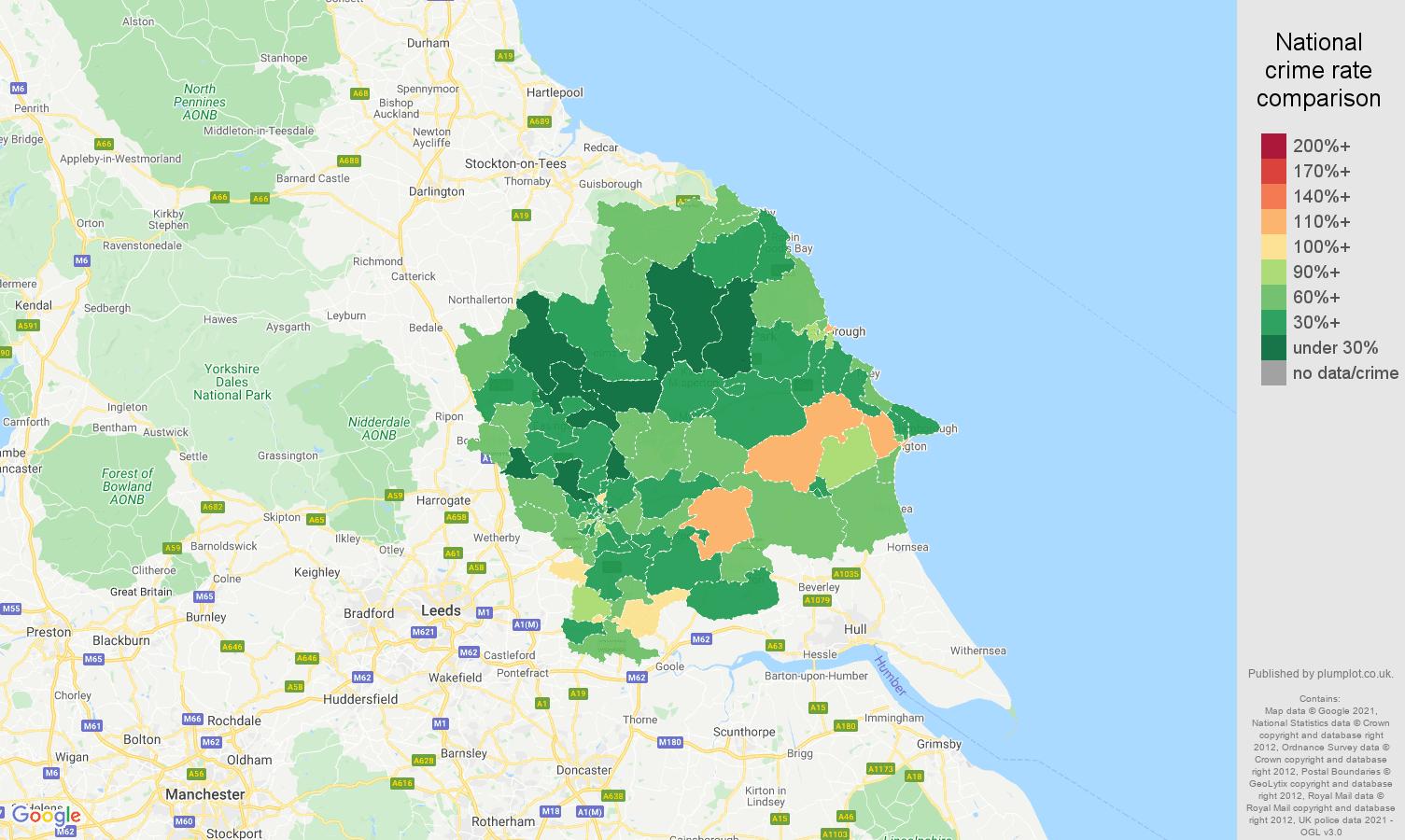 York burglary crime rate comparison map
