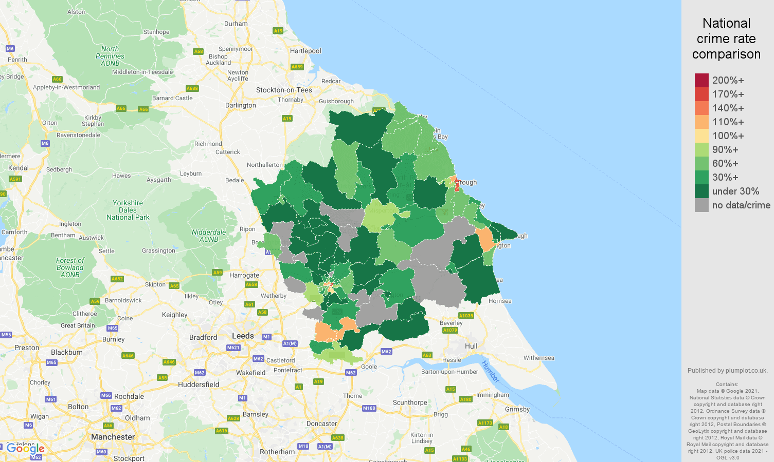 York drugs crime rate comparison map