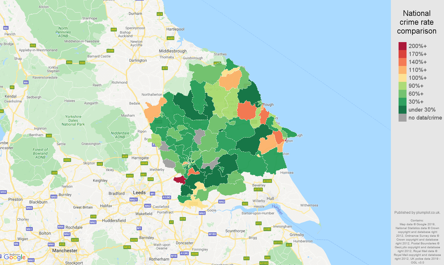 York other crime rate comparison map