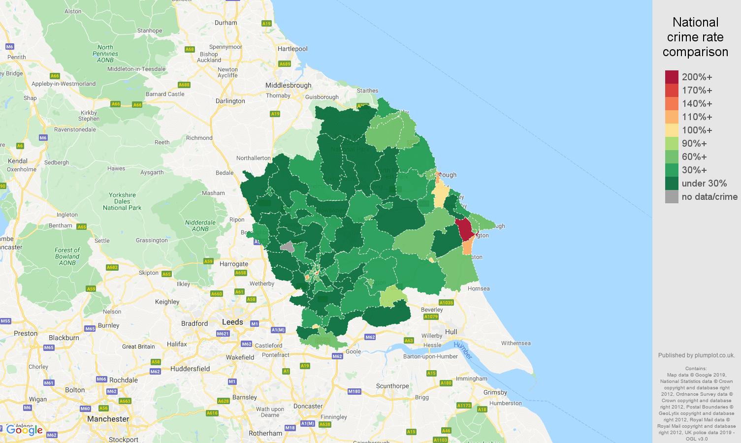 York public order crime rate comparison map