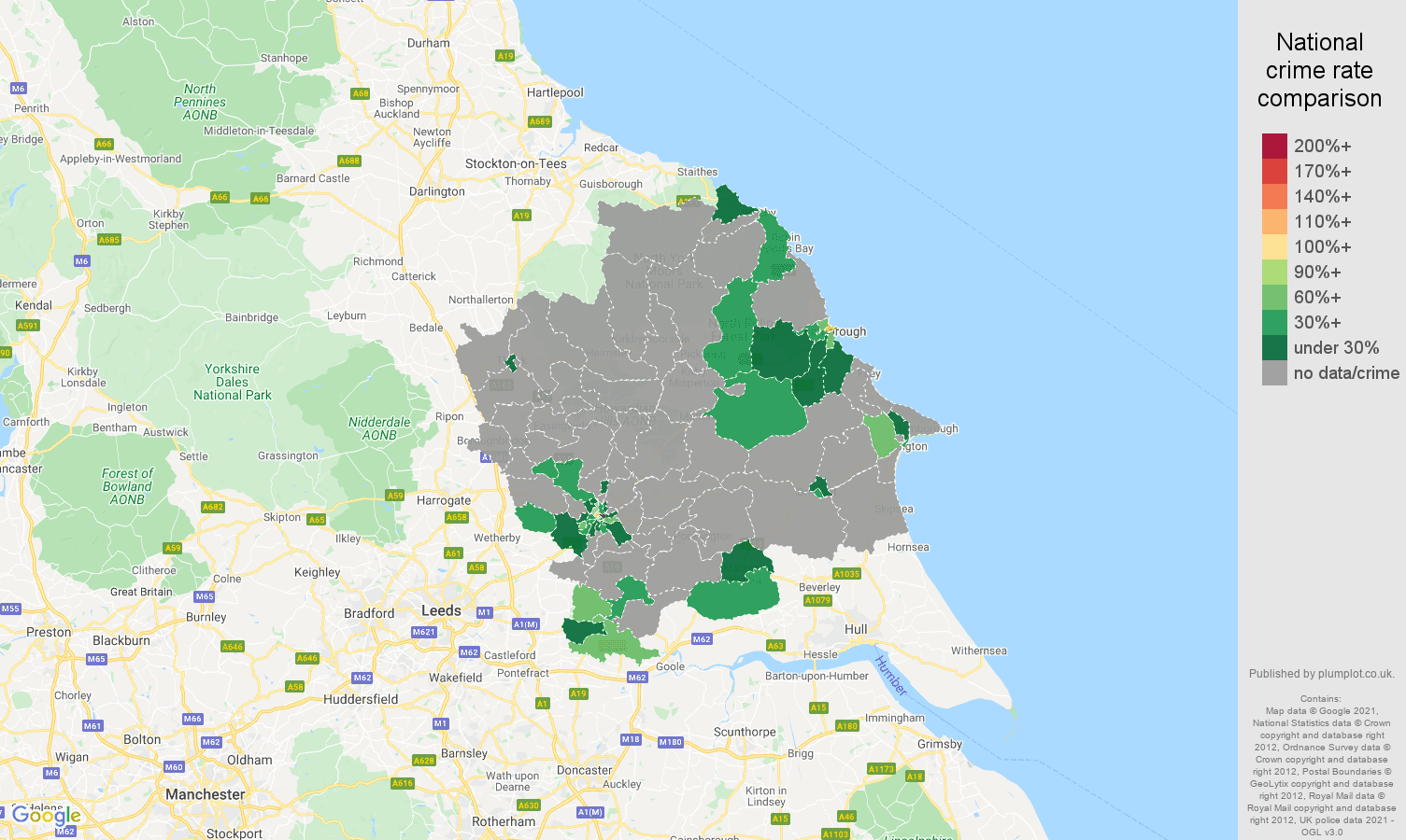 York robbery crime rate comparison map