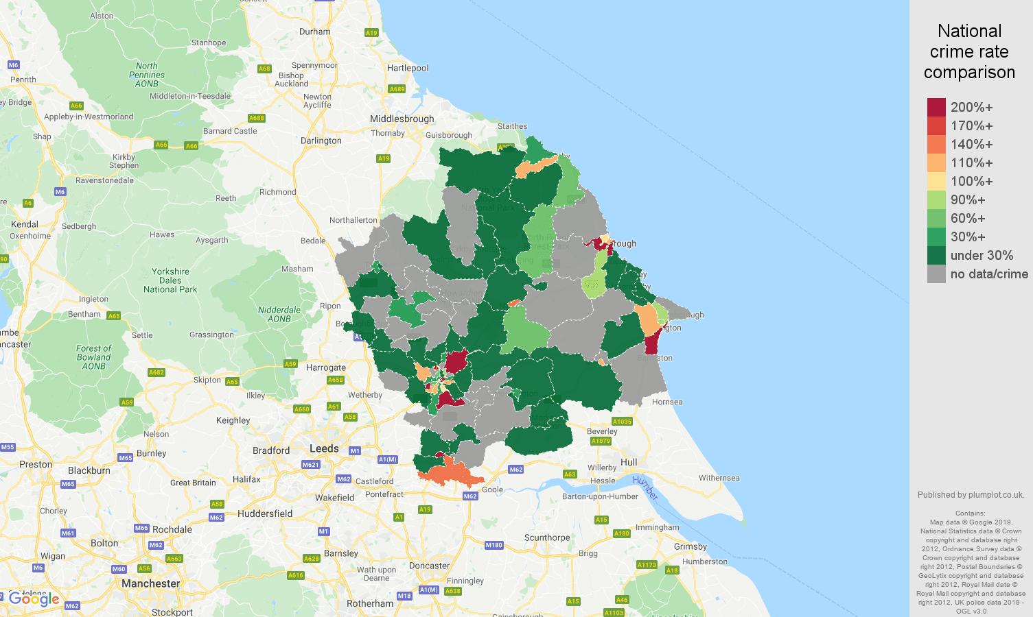 York shoplifting crime rate comparison map