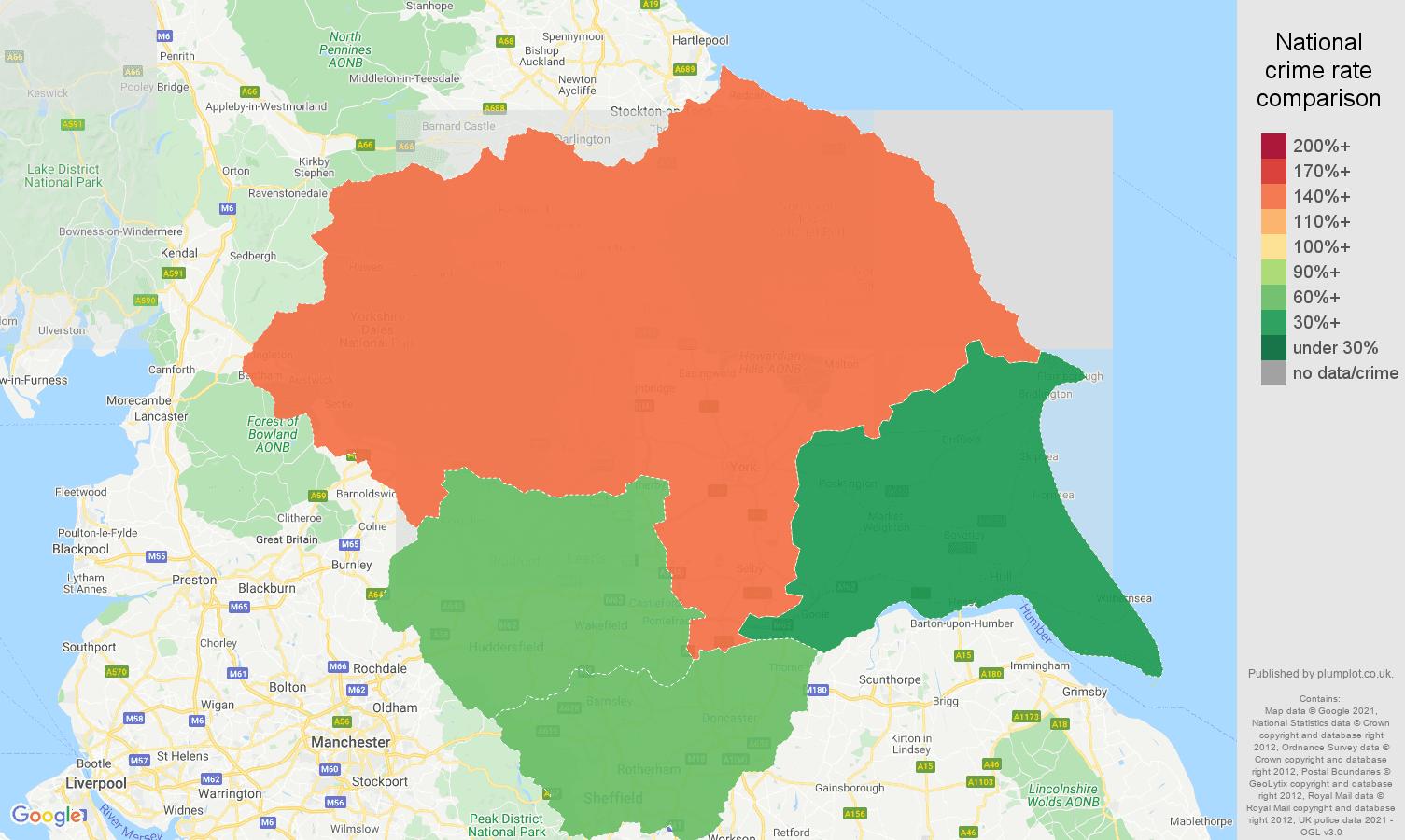 Yorkshire antisocial behaviour crime rate comparison map