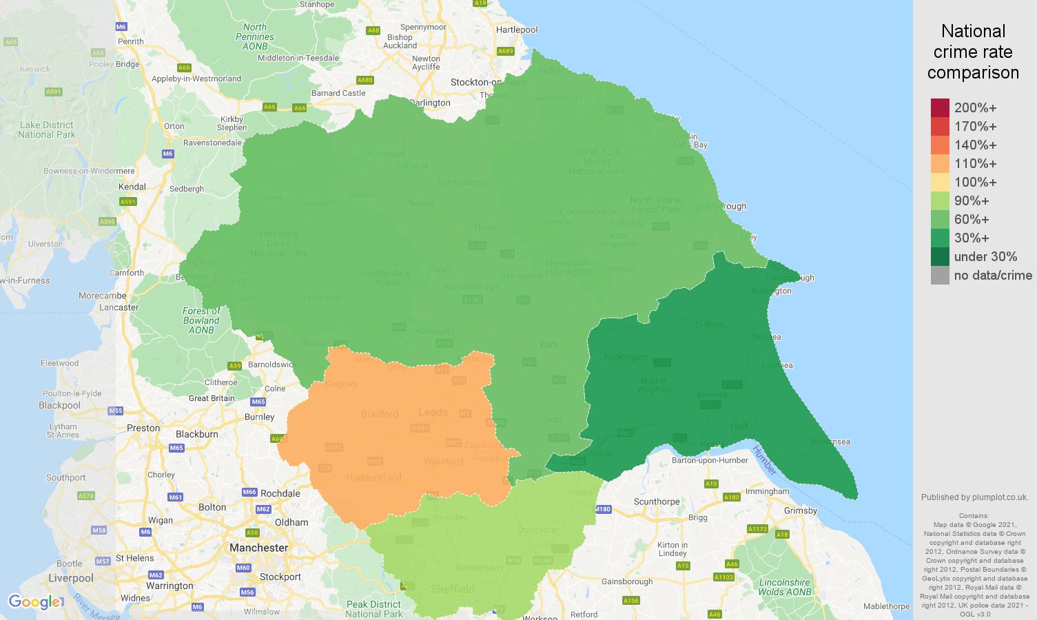 Yorkshire drugs crime rate comparison map