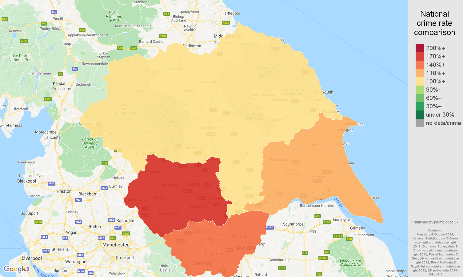 Yorkshire other crime rate comparison map
