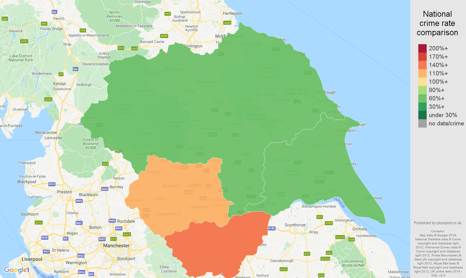Yorkshire possession of weapons crime rate comparison map