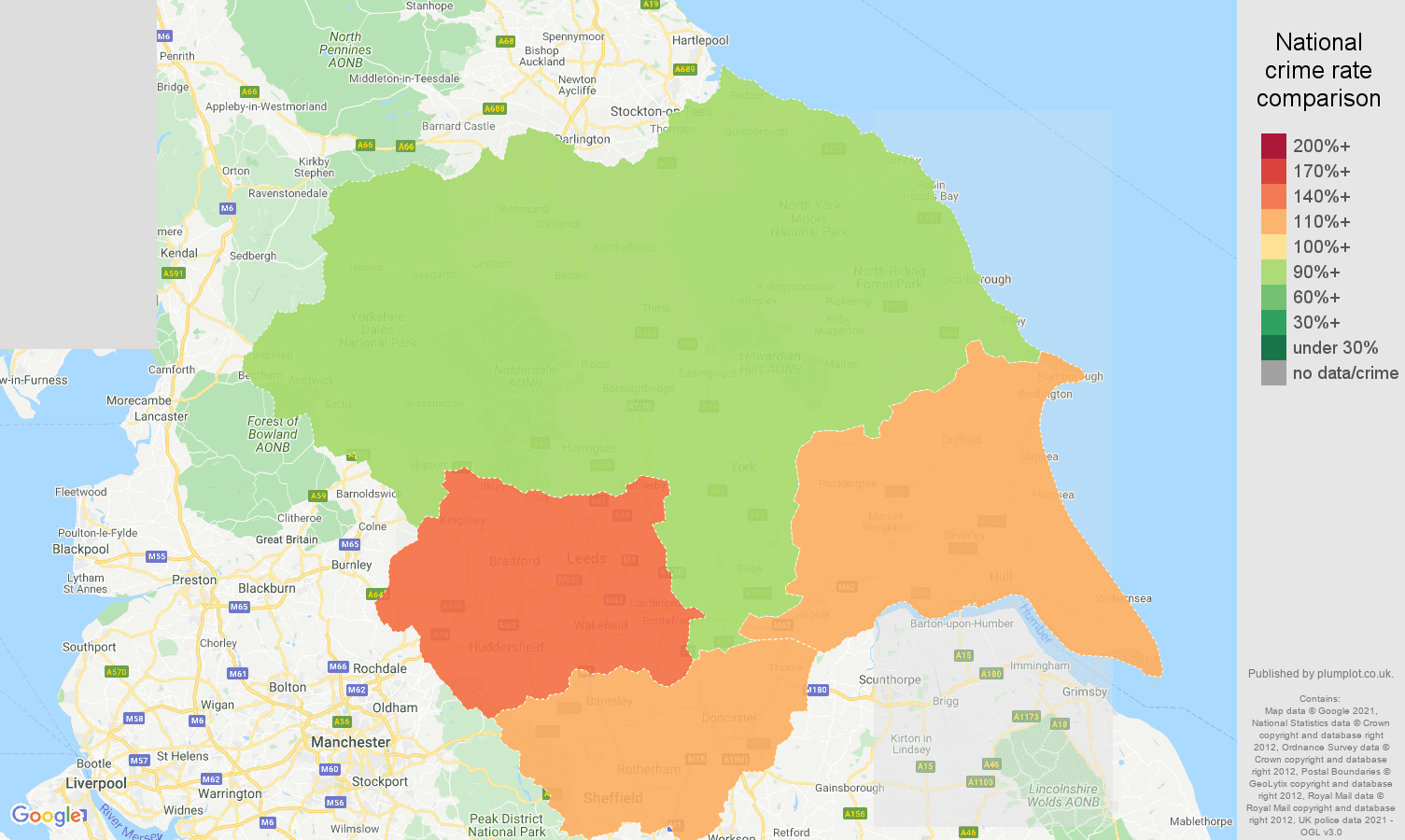 Yorkshire violent crime rate comparison map